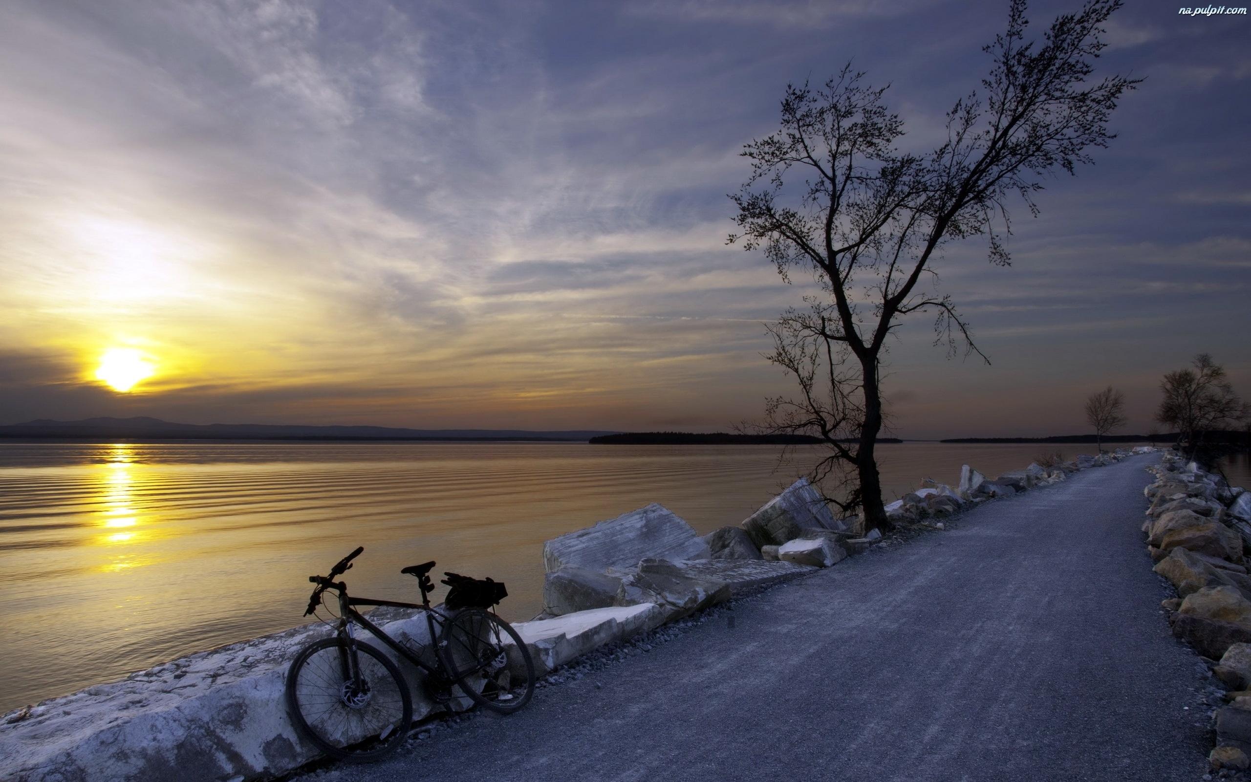 Rower, Zachód, Jezioro, Droga, Słońca